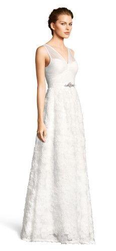 Adrianna Papell Embellished Petal Chiffon Ball Gown 10 Ivory, Women's, Size: 10 Regular
