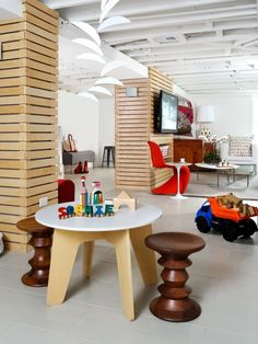 This is so cool.... Notice the name on the table ;) Modern Basement Playroom.