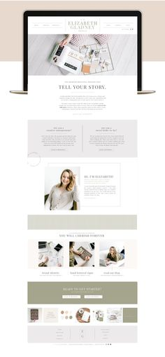 Home page web design for Elizabeth Gladney Creative Co. Layout Design, Website Design Layout, Homepage Design, Web Design Trends, Website Designs, Website Design Inspiration, Ecommerce, Clean Web Design, Flat Design