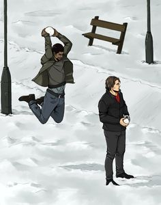 """[Image: Sam Wilson and Bucky Barnes both holding snowballs; Sam is behind Bucky, leaping up as if to smash the snowball into Bucky's head.] daevier: """"Has this been done yet? (the original picture is photo,i don't know where i saw it) """""""