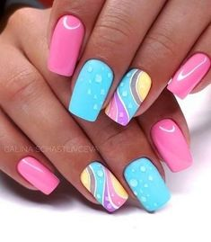 Try some of these designs and give your nails a quick makeover, gallery of unique nail art designs for any season. The best images and creative ideas for your nails. Popular Nail Designs, Best Nail Art Designs, Newest Nail Designs, Bright Nail Designs, Beach Nail Designs, Toe Nail Designs, Bright Summer Nails, Spring Nails, Nail Summer