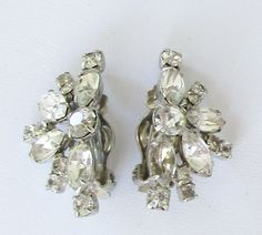 Clear Crystal Ear Climber Flower Earrings Vintage Silver Tone Clip On  A21 by UnderTheBaobobTree on Etsy