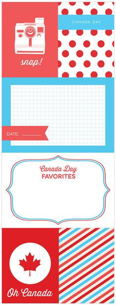 FREE Oh Canada! Patriotic Journaling and Filler Cards - simple to change with overlays. school pictures anyone? Scrapbook Journal, Travel Scrapbook, Journal Cards, Scrapbook Pages, Canada Day Fireworks, Canada Party, Mini Albums, Happy Canada Day, Project Life Cards