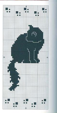Cat cross stitch, sitting up, simple. Cat Cross Stitches, Cross Stitch Bookmarks, Cross Stitch Charts, Cross Stitch Designs, Cross Stitching, Cross Stitch Embroidery, Embroidery Patterns, Cross Stitch Patterns, Chat Crochet