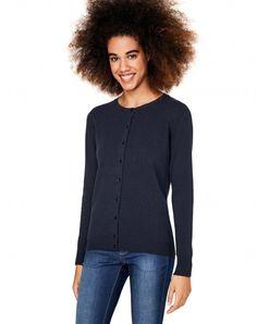 Merino wool cardigan Blue - Women | Benetton