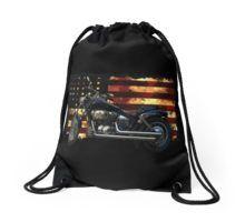 Patriotic US Flag and Motorcycle Drawstring Bag