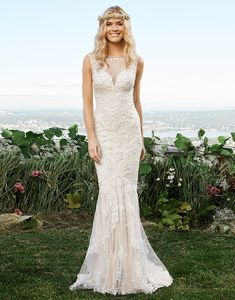 Lillian West lillian west style 6421 Look ethereal in this mermaid gown with an illusion Sabrina neckline, sheer back with lace appliqus, jersey lining and a sweep train.
