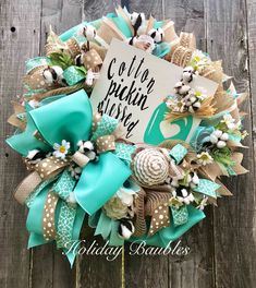 A personal favorite from my Etsy shop https://www.etsy.com/listing/583143529/cotton-pickin-blessed-wreath-cotton