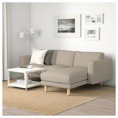 NORSBORG sofa - with chaise longue Finnsta, Finnsta birch white/birch - IKEA Furniture, Home Furnishings, Home, Sofa, Sofas And Chairs, Comfortable Sofa, Ikea, Ikea Norsborg, Norsborg