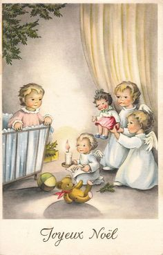 Belgium vintage Christmas card, Joyeux Noel