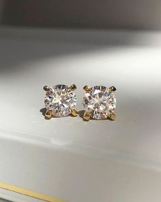 Classic Four Claw Set Diamond Stud Earrings in Yellow Gold by Naveya and Sloane Jewellery Crafted to order in New Zealand ( Diamond Stud, Diamond Earrings, Stud Earrings, Naveya And Sloane, Fine Jewelry, Jewellery, Icon Design, Jewelry Crafts, Photo And Video