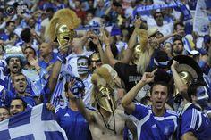 Greek fans celebrate goal of Karagunis. Greece vs. Russia 1:0