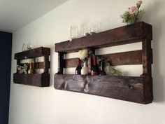 Wine racks made out of wooden pallets