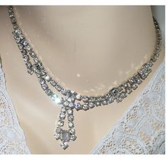 AMAZING Long Drop Baguettes Rhinestones Necklace / Choker by MarlosMarvelousFinds $34.18