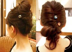 hair updos using a hair pin with dazzling crystal stones