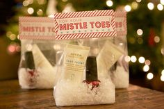 For Your Mistle Toes + FREE Printable - We could do something like this with your natural nail care goods, Maddie! :)