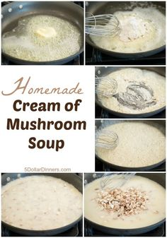 Creamed Mushrooms, Stuffed Mushrooms, Mushroom Soup Recipes, Mushroom Recipe, Recipe For Homemade Cream Of Mushroom Soup, Cream Of Mushroom Substitute, Mushroom Sauce, Homemade Sauce, Soup And Salad
