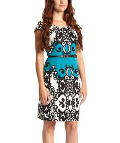 Another great find on #zulily! Black & Teal Pleated Belted Cap-Sleeve Dress by Shelby & Palmer #zulilyfinds