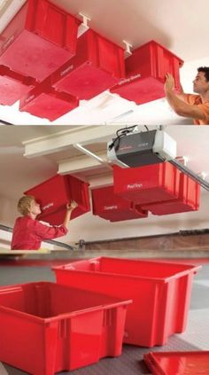 You can easily create a sliding storage system that hangs from the ceiling and saves all of your wall and floor area for other things. A few plastic bins and a tracking system will instantly turn your garage ceiling into the perfect storage and organization solution and this system is easy to build so you can do it yourself.