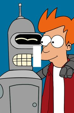 Futurama Fry and Bender Single Light Switch by DynamicDuoCrafts