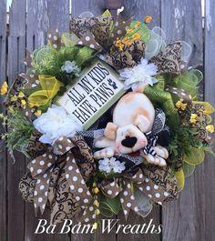 Everyday Wreath All Season Wreath Dog Wreath Dog by BaBamWreaths