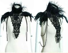 Victorian Black feather collar shoulder jewelry bead chain lace goth lolita punk