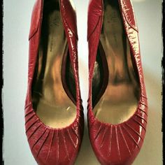 """Red Valentine's Heels Ruched red pumps, I think they were size 7, measures 9"""" inside. Great for your holiday dress! Heels are 4"""" high. INC Shoes Heels"""