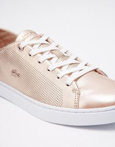 Lacoste Showcourt Lace 2 Rose Gold Leather Trainers at ASOS. Vans Brillantes, Leather Trainers, Leather Sneakers, Sexy High Heels, Womens High Heels, Sneakers Fashion, Fashion Shoes, Girl Fashion, Fashion Outfits