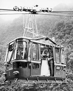 WEDDING: CABLE CAR, 1970. A young Taiwanese couple, she a cable car conductor, he a cable car operator, are married in a supended cable car north of Taipei, Taiwan, October 1970.