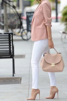 work-outfit-idea-white-pants-nude-pointy-toe-pumps-blush-blazer