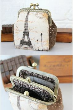 Paris Coin Purse Double Pockets Polka Dots by LovekaHandmade