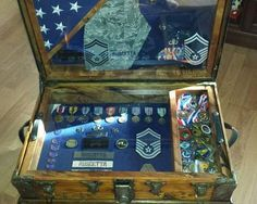 Chuck's  Antique Trunk Used as Air Force Retirement Shadow Box and Storage Chest