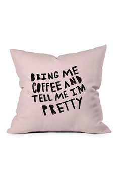 DENY Designs - Allyson Johnson Bring Me Coffee Pink Throw Pillow is now 35-38% off. Free Shipping on orders over $100.