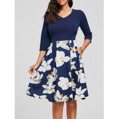 Floral Print Fit and Flare Dress with Pockets - Purplish Blue L Fall A-Line