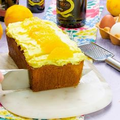 We've turned the classic brunch cocktail into a zingy loaf cake with this tasty mimosa cake. Orange Recipes, Sweet Recipes, Baking Recipes, Cake Recipes, Loaf Recipes, Alcohol Cake, Alcoholic Desserts, Spring Cake, Sweet Breakfast