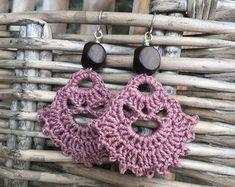 Irish Lace Earrings one Jewellery Exchange New Jersey; Lace Earrings, Dangle Earrings, Statement Earrings, Flower Necklace, Crochet Earrings Pattern, Crochet Patterns, Boho Jewelry, Handmade Jewelry, Jewellery Box
