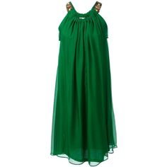 Lanvin Draped Flared Dress ($798) ❤ liked on Polyvore featuring dresses, short dresses, green, vestidos, платья, flare dress, embellished cocktail dress, lanvin dresses, embellished dresses and mini dress
