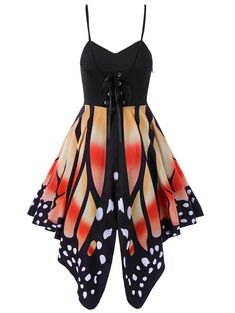 e51765cad2 Gothic Butterfly Print Skater Lace-Up Slip Spaghetti Strap Dress  (M-2XL)