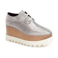 "Stella McCartney Lace-Up Platform Sandal, 3"" heel ($1,100) ❤ liked on Polyvore"