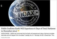 HOAX - 'NASA Confirms 6 Days of Total Darkness'