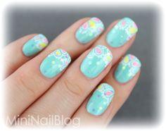 little girl  nail art. | Colourful Flower Nail Art ☆