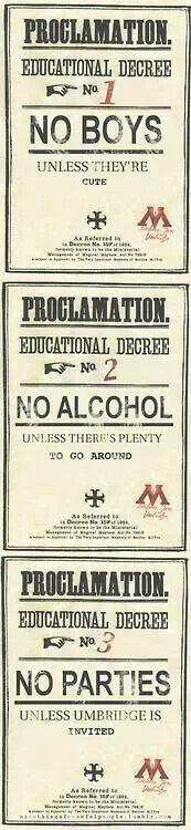 Umbridge's rules lol