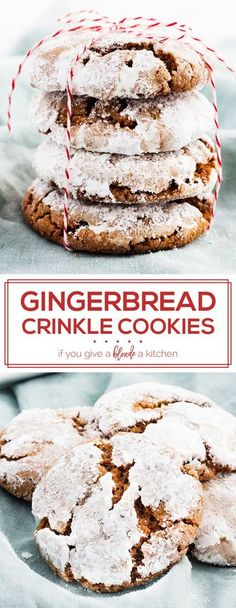 Gingerbread crinkle cookies are easy to make chewy cookies made with molasses, brown sugar and confectioners' sugar. This recipe is perfect for Christmas cookie swaps! | www/ifyougiveablondeakitchen.com