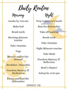 Creating a Daily Routine Tips and ideas to help you schedule a daily checklist to keep you motivated and productive tips schedule daily routine - Daily Routine Schedule, Daily Checklist, Daily Routines, Daily Routine For Women, Morning Routine Checklist, Morning Routine Chart, Morning Routines, Bedtime Routine, Night Time Routine