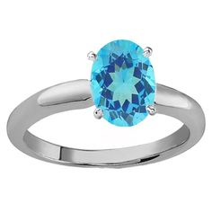 Sterling Silver 1 1/2ct Oval Cut Blue Topaz Solitaire Bridal Engagement Ring (Blue, Moderately Included) (Size