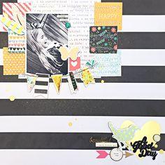 A Good Day Scrapbook Layout by Heather Leopard #scrapbooking #scrapbook Gossamer Blue #gossamerblue