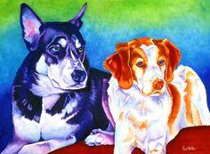Kiwi and Conan 22×30 Watercolor. Sinclair Stratton
