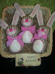 Primitive Whimsical Country Spring EASTER BUNNY Dolls