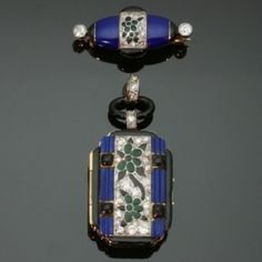 Art Deco gold enameled diamond set watch pendant and matching brooch