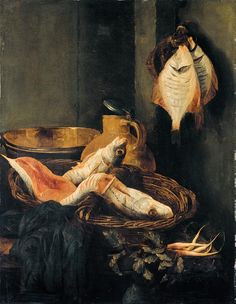 Abraham van Beyeren (1621–1690) Still-Life with Fish in Basket